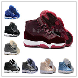 Wholesale Silk Satin Gift Boxes - High Quality 2017 Retro 11 Mens Basketball Shoes with Shoe Box XI Pleuche Burgundy Velvet Royal Blue Cool Gray Ultimate Gift of Flight