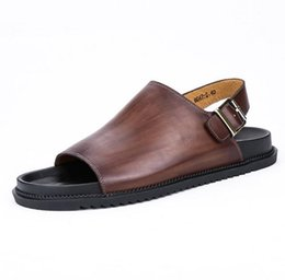 Wholesale Business Sandals - New Men fashion Non-slip beach shoes Genuine Leather shoe Lounger A pedal Leisure Single shoes First layer Cowhide Business Sandals