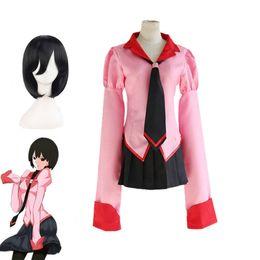 Wholesale Top Anime Cosplay Costumes Female - Anime Owarimonogatari Oshino Ougi Cosplay Costumes Wigs Bakemonogatari Halloween Pink School Girls Uniforms Top+Skirt+Tie