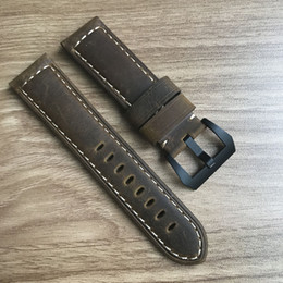 Wholesale Strap For Panerai - Vintage ocysa brand dark brown black Crazy horse genuine leather belt watch strap 24mm 26mm for Panerai pam watches