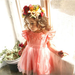 Wholesale Girl Dres - Girls Lace tutu Dresses Kids Girls Embroidered Floral Dres Baby Girl Princess Flutter Sleeve Dress 2017 childrens Summer clothes
