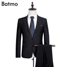 Черные платья онлайн-Wholesale- 2017 new arrival High quality wool men's weding dress,one button casual suit men,black men's Business suits,plus-size S -3XL