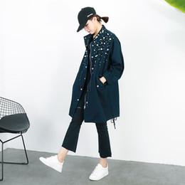 Wholesale Denim Drawstring Jacket Women - [soonyour] 2017 spring new Korean long section beaded drawstring waist denim windbreaker jacket for women KS2186