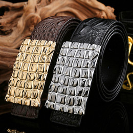 Wholesale Cow Plates - Fashion Men's cow leather belt smooth buckle belt plate buckle casual Genuine Leather belt high-quality for men gift