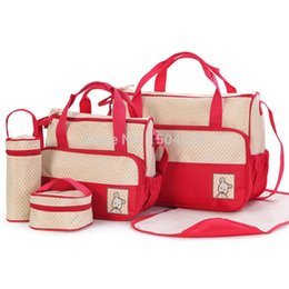 Wholesale Bags Mom - 5 Pieces One set Baby Diaper Nappy Women's Handbag Tote Package Diaper Bags Baby Mom Bag