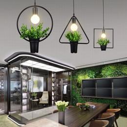 Wholesale vintage fluorescent light - Vintage Industrial Plant pendant Lamp Iron Plant Creative Potted chandelier For Restaurant Bar Cafe Living Room