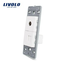 Wholesale Glasses Sockets - LS-Manufacture Livolo, White Crystal Glass Panel, 2 Gangs Wall Computer and TV Socket   Outlet VL-C5-1VC-11, Without Plug adapter