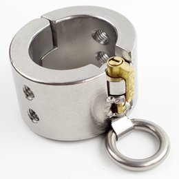 Wholesale Male Slave Ball - Stainless Steel Ball Stretcher Removable Spike New Lock O-ring Add Ball Weights Male CBT Sex Games Slave Scrotum Locking Cock Ring