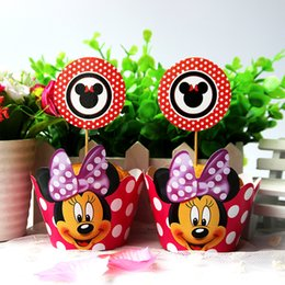 Wholesale Baby Girl Cupcake Wrappers - Wholesale- 24pcs Paper Cupcake Wrapper Topper Cake Picks Minnie Mouse Cartoon Girl Kids Birthday Party Baby Shower Cake Decoration Supplies