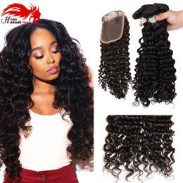 Wholesale virgin brazilian hair online - Cheap Brazilian Deep Curly With Closure Human Hair Weaving With 1 pc 4*4 Middle Free Part Top Lace Closure Buy Hair Online