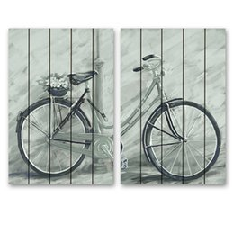 Wholesale Wholesale Painting Frame Canvas - ARTPIONEER 2Panel retro bike Printed American style Painting Canvas Art Home Decor Wall Pictures For LivingRoom bedroom No Frame