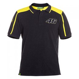 Wholesale Black Polo Large - 2017 VRfortysix Valentino Rossi VR46 Large 46 Yellow Panel Moto GP M1 Racing Team Polo Shirt Sport T-shirt