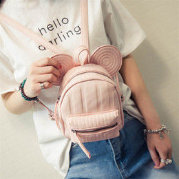 Wholesale Organic Gold Wholesale - Wholesale- 2017 New Women's Leather Backpack Cartoon children backpacks mini back pack backpacks for teenage girls small mouse Backpack