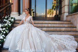 Wholesale Feather Skirt Dress - 2017 New Luxury Lace Wedding Dresses A Line Deep Plunging Long Illusion Sleeves Backless Chapel Train Wedding Bridal Gowns Custom Made