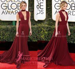 Wholesale Golden Elegant Dresses - Elegant Burgundy Floor Length Prom Evening Dresses Charissa Thompson Golden Globes 2017 Mermaid Keyhole Neck Ruffled Formal Celebrity Gowns
