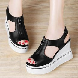 Wholesale Casual Wedge Slippers Sandal Shoes - 2017 Top Cow Leather Women Sandals with high heel Women Peep toes Soft Leather Zip Wedge Summer Shoes Slippers Size 34-39