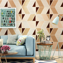 Wholesale Roll Black Velvet - Modern Geometry Pattern Wall Paper Living Room Bedroom Non-woven Suede Velvet 3D Relief TV Background Wall Decoration Wallpaper