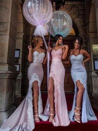 Wholesale Sexy Swetheart Lace - Split Side Long Bridesmaid Dresses 2017 Swetheart Sleeveless Zipper Off the Shoulder Sweep Train Sexy Wedding Party Gowns With Ribbons
