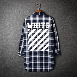 Wholesale Wholesale Womens Dress Tops - Wholesale- Men autumn off white casual plaid shirt hip hop flannel dress shirts womens long blouse clothing bigbang slim fit tops camisa