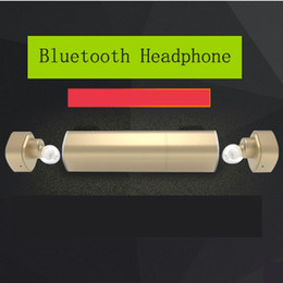 Wholesale Design Headphones - Mini Twins True Bluetooth Headphones Wireless Earbuds with 500mA 900mA Charging Socket Power Bank In-Ear Stereo Headset 2017 New Design