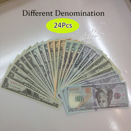 Wholesale 24Pcs set USA Bank Counting Training tool Learning Banknotes Novelty Collection Teaching Money Joke props with Different Denomination