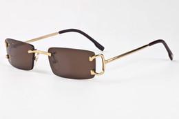 Wholesale Amber Big - 2017 Luxury Brand Sunglasses Gold Metal Frame Men Women Rimless Glasses Fashion Designer Spectacle Sunglasses Big Buffalo Sun Glasses