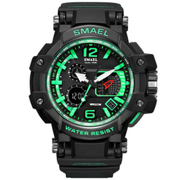 Wholesale Sports Diving Wrist Watch - New Arrrival Big Dial White Sport Watches S Shock LED Digital Wrist Watches 50M Waterproof Dive Watch relogio Male Clock Drop Shipping