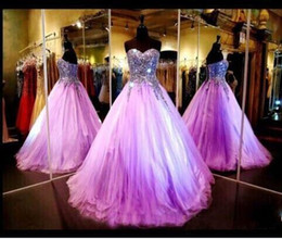 Wholesale Quinceanera Dresses Red Bling - 2017 Cheap Light Purple Quinceanera Dresses Bling Real Image Sweetheart Beaded Crystal Ball Gown Prom Dresses Long Lace Up Evening Dresses