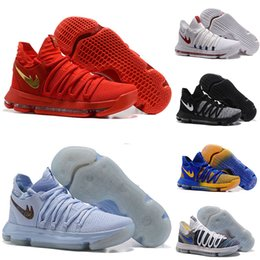 Wholesale Ups Grade - New arrival Zoom KD 10 Anniversary PE Oreo Red Men Basketball Shoes KD 10 X Elite Low Kevin Durant Grade School Sport Sneakers