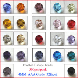 Wholesale Blue Facet Crystals - Mixed color crystal round facet bead 4MM multi color glass beads crystal football beads Top AAA Grade 500pcs