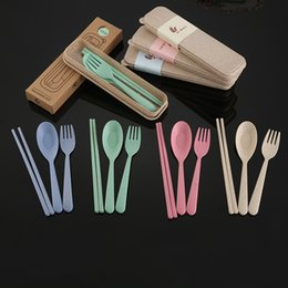 Wholesale Plastic Fork Set - Delidge 3pcs set 4 Color Cutlery Set Plastic Wheat Straw Eco-Friendly Portable Picnic Camping Essential Tableware Kitchen Tools