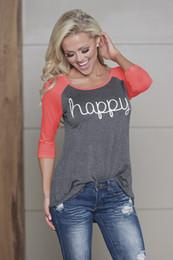 Wholesale Happy T Shirt - Chest printed HAPPY raglan long sleeves t shirts wholesale women t shirts slim women s clothing loose comfortable women's tops704#