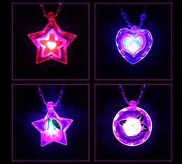 Wholesale Light Up Necklaces Led - Wholesale- 25pcs lot Flashing led necklace glow light up necklace toys party supplies led arcylic cute pendant toy blink cartoon necklace