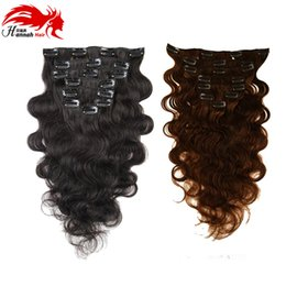 Wholesale Body Clips - Hannah Brazilian Clip in Human Hair Extensions Body Wave Clip Ins for Black Women 7pieces set Brazilian Hair Clip In Extension