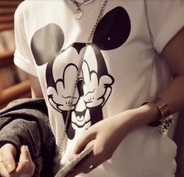 Wholesale Micky Shirt - Wholesale free shipping Cartoon t shirts womens fashion preppy micky mouse printed t shirts plus size casual t shirts for girls short sleeve
