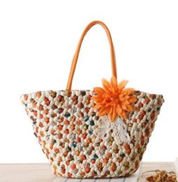 Wholesale Large Handmade Flowers - new fashion women Handmade straw bag large size free shipping Wholesale at factory price