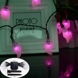 Wholesale Pure Marketing - Solar 20LED Halloween lamp string, festival lantern, ghost model, decorative lamp string, decorative lamp factory, direct marketing
