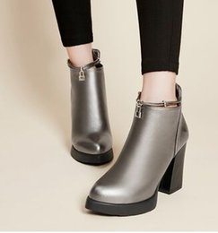 Wholesale patent leather work boots - Wholesale New Arrival Hot Sale Specials Super Influx Warm Knight Student Pointed Noble Platform Elegant Heels Thicken Ankle Boots EU34-43
