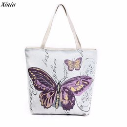Wholesale Butterfly Fashion Shop - Wholesale- 2017 New Fashion Women Canvas Beach Bag Butterfly Printed Canvas Tote Casual Women Shopping Bag de las mujeres Sac A