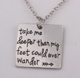 """Wholesale Hot Stamp Plate - Hot sale 12pcs  New arrival Hand Stamped""""Take me deeper than my feet could ever wander""""necklace Christian jewelry baptism gift"""