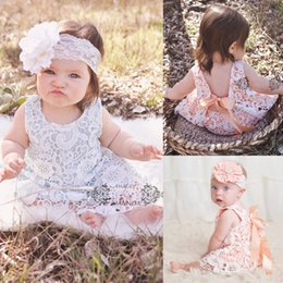Wholesale Swing Sets Babies - Wholesale- Flower Briefs Bottoms Bow Cute 2pcs Outfit Baby Girl Clothes Sets Sunsuit 2pcs 2016 New Newborn Baby Girls Lace Swing Tops Dress