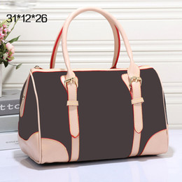 Wholesale Speedy Handbags - Boston bag Classic Speedy medium Damier Azur With Strap Women pu leather handbag Brown plaid bag floral famous brand totes bag