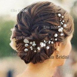 Wholesale Wholesale Fairy Dresses - Elegant New Bridal Hair Accessories Flowers Beads Bride Hair Pearl Pins Comb Wedding Dresses Accessory Charming Headpieces 6 Pieces a Lot