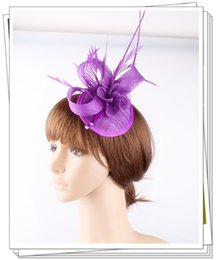 Wholesale Gray Wedding Hats - Free shipping 16 colors 2017 sinamay fascinators has for wedding hats bridal hair accessories cocktail hats party headwears 6 pcs lot OF1546