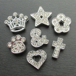 Wholesale Small Letter Charm - 100pcs lot Zinc Alloy full Rhinestone Slide parts pet collars bands DIY slider accessories charms wholesale