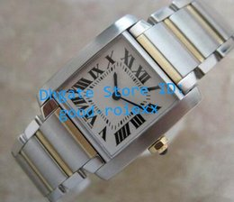 Wholesale Watch Roman Gold - Top Luxury Ladies Francaise 18K Gold Steel Mid Size Ladys Watch Swiss Quartz Watches Women's Roman Numeral Francaise Woman Wristwatches