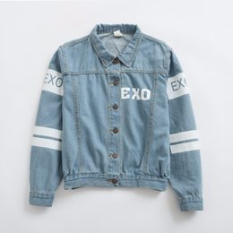 Wholesale Letter S K - k-pop Hot 2017 Fall   Winter New EXO Korean Long-Sleeved Jacket Coat Loose Casual Denim Women Student Lovers kpop k pop EXO bts