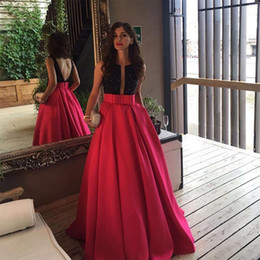 Wholesale Sexy Plus Size Special Occasion - Open Back Fuchsia Long Evening Prom Dresses Arabic Formal Dress Black Beaded Vestido De Gala 2017 Custom Special Occasion Evening Gowns