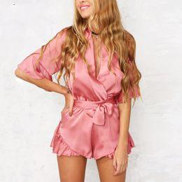 Wholesale Satin Ruffle Romper - Apparel Summer style satin ruffles elegant jumpsuit romper Deep v neck sexy playsuit Women pink bow short beach overalls