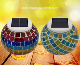 Wholesale Led Power Cans - Sun cans Solar Powered Mosaic Glass Ball LED Garden Lights,Color Changing Solar Table Lamps,Waterproof Solar Outdoor Lights for Christmas
